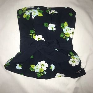 Hollister strapless floral top S